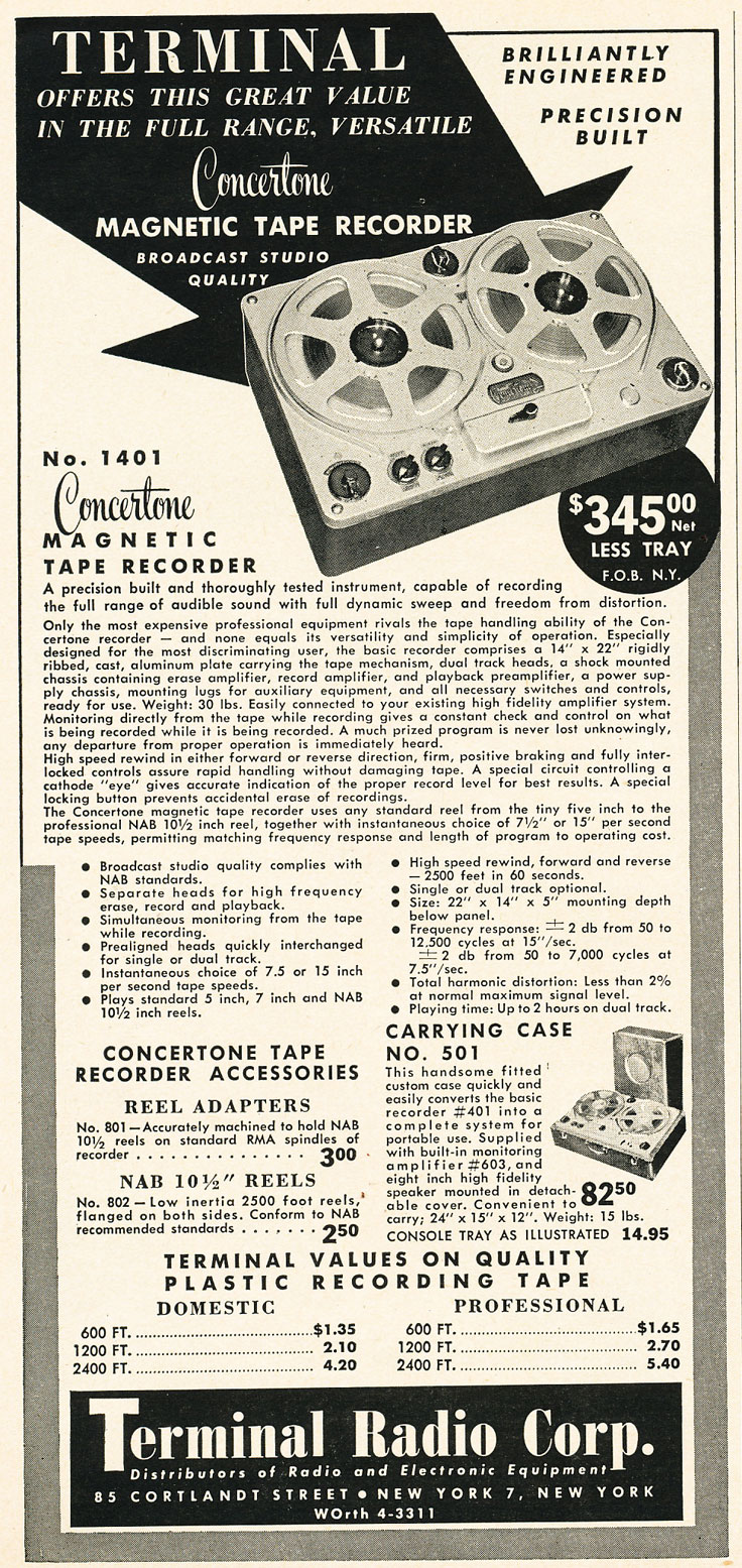 1952 Terminal ad featuring Concertone in Reel2ReelTexas.com's vintage recording collection
