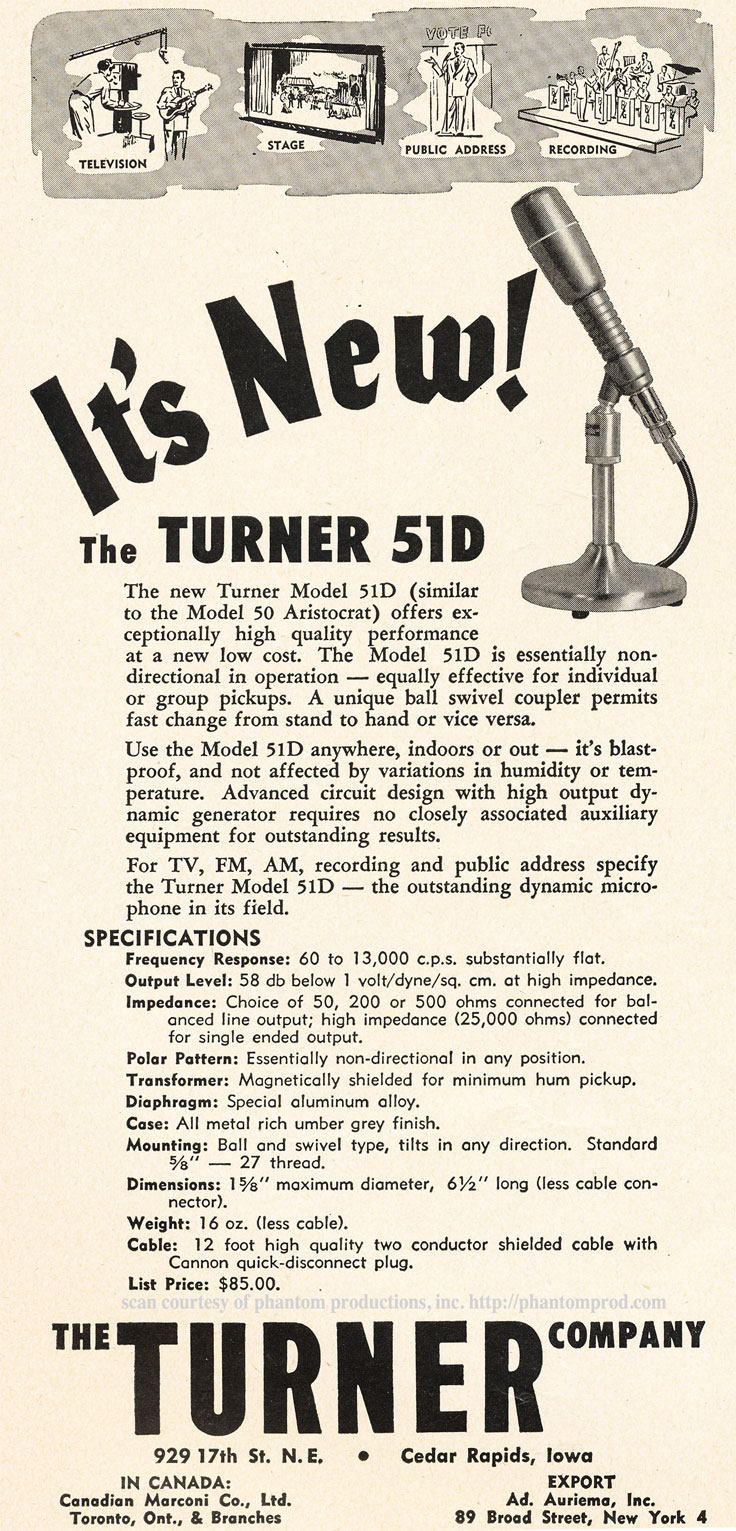 1952 ad for the Turner 51D microphone in Reel2ReelTexas.com's vintage recording collection