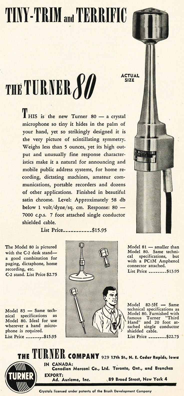 1952 ad for the Turner 80 microphone in Reel2ReelTexas.com's vintage recording collection