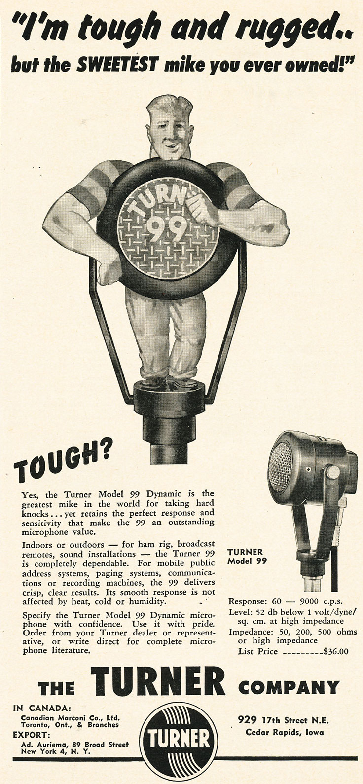 1952 ad for the Turner 99 microphone in Reel2ReelTexas.com's vintage recording collection