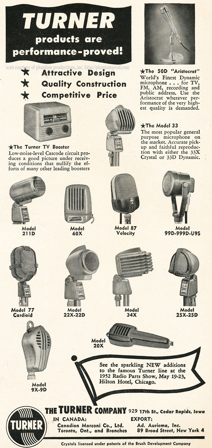 1952 ad for Turner microphones in Reel2ReelTexas.com's vintage recording collection