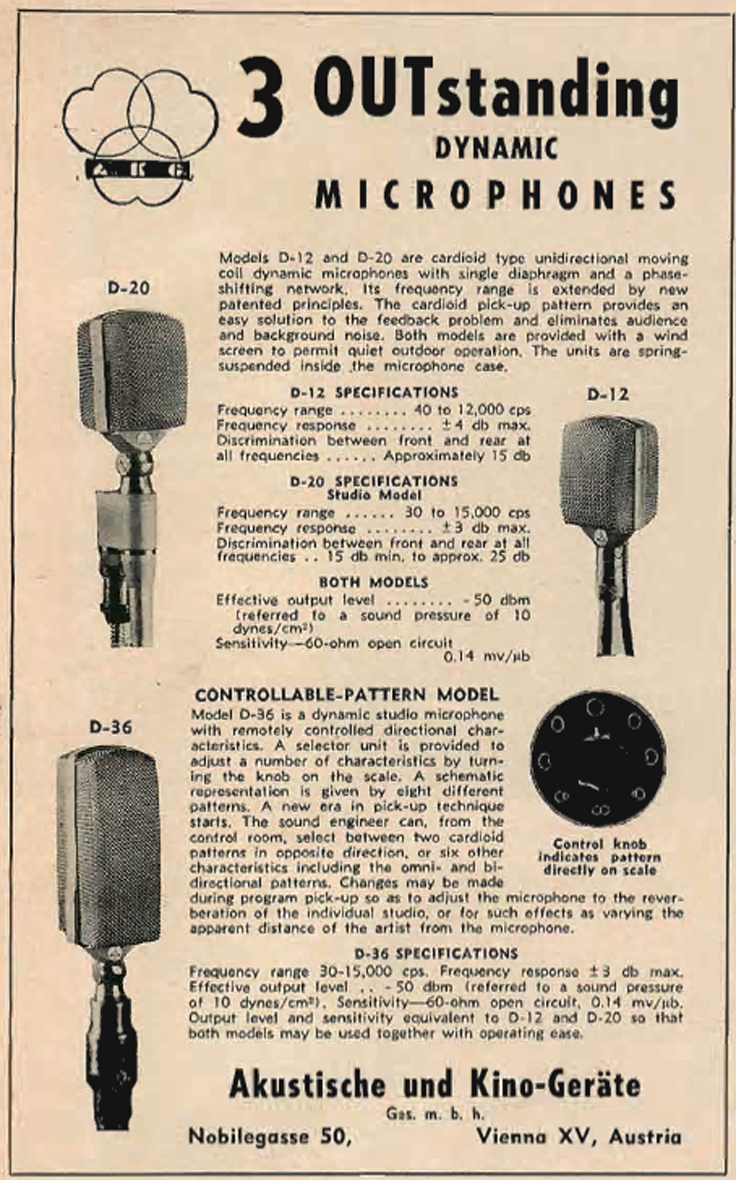 1953 AKG microphones ad showing the magnecord reel tape recorder in Reel2ReelTexas.com's vintage recording collection