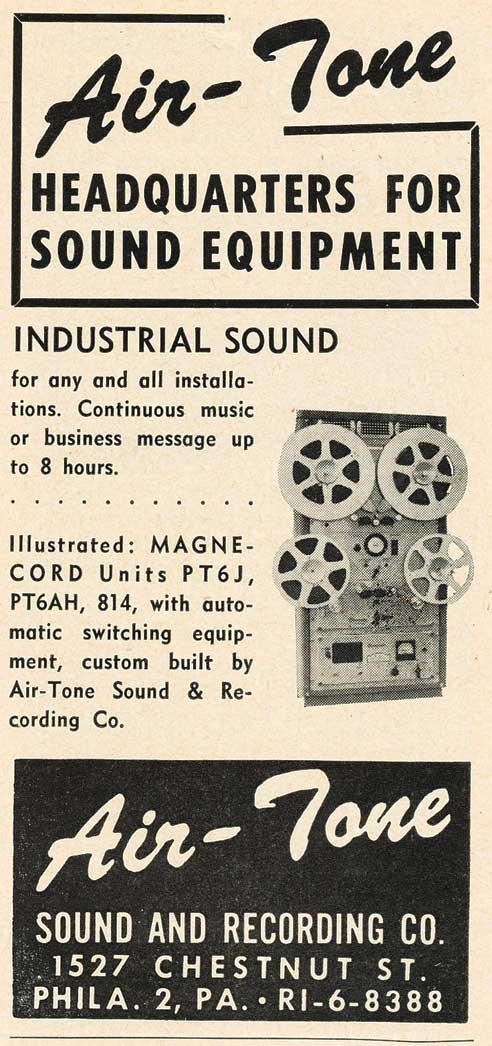 1953 AirTone ad showing the magnecord reel tape recorder in Reel2ReelTexas.com's vintage recording collection