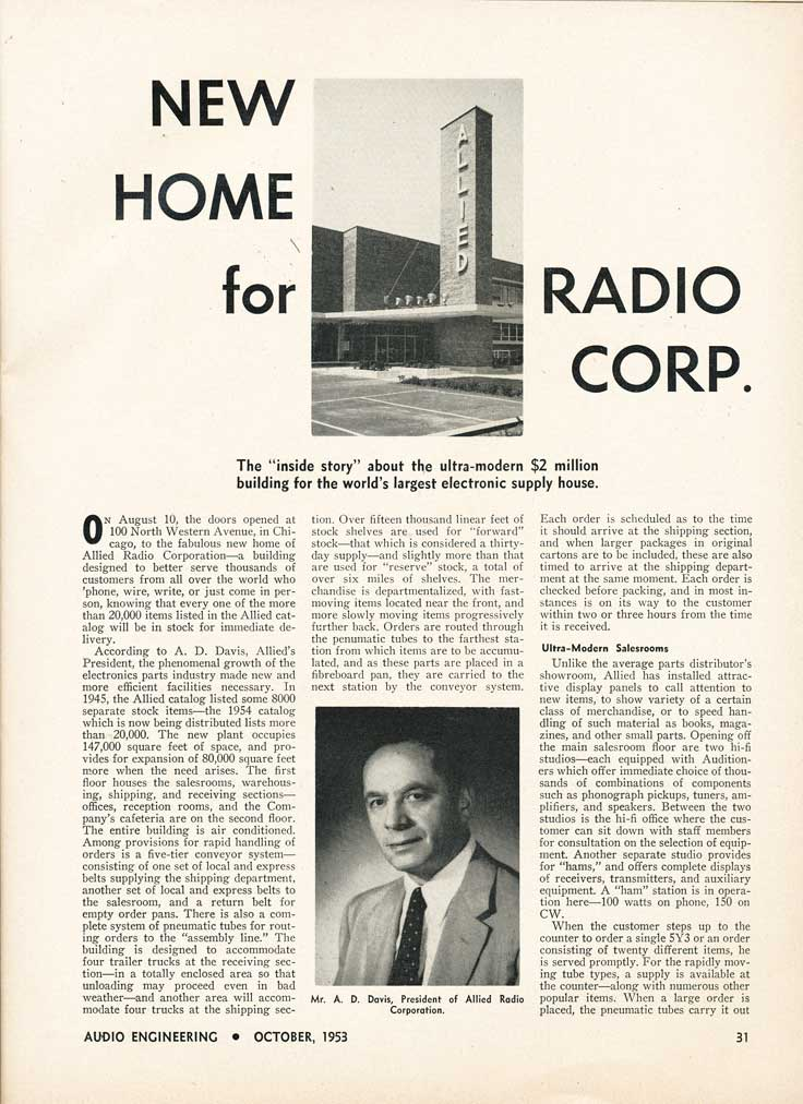 1953 story about the Allied Radio catalog company in Reel2ReelTexas.com's vintage recording collection