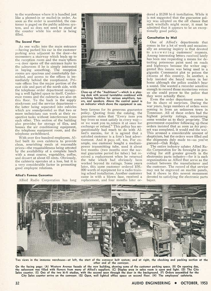 Page 2 of the 1953 story about the Allied Radio catalog company in Reel2ReelTexas.com's vintage recording collection