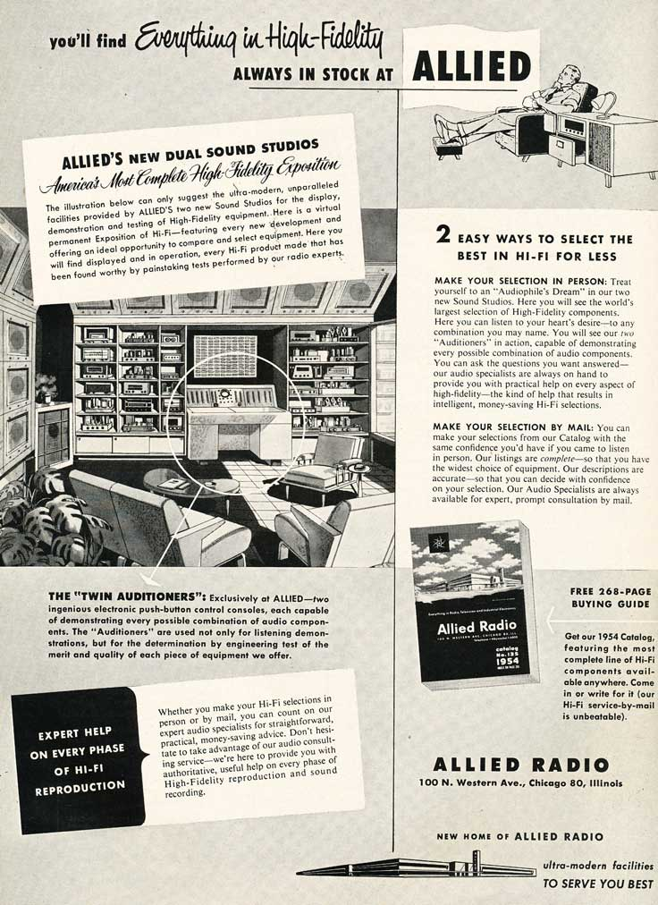 1953 Allied Radio catalog ad in Reel2ReelTexas.com's vintage recording collection