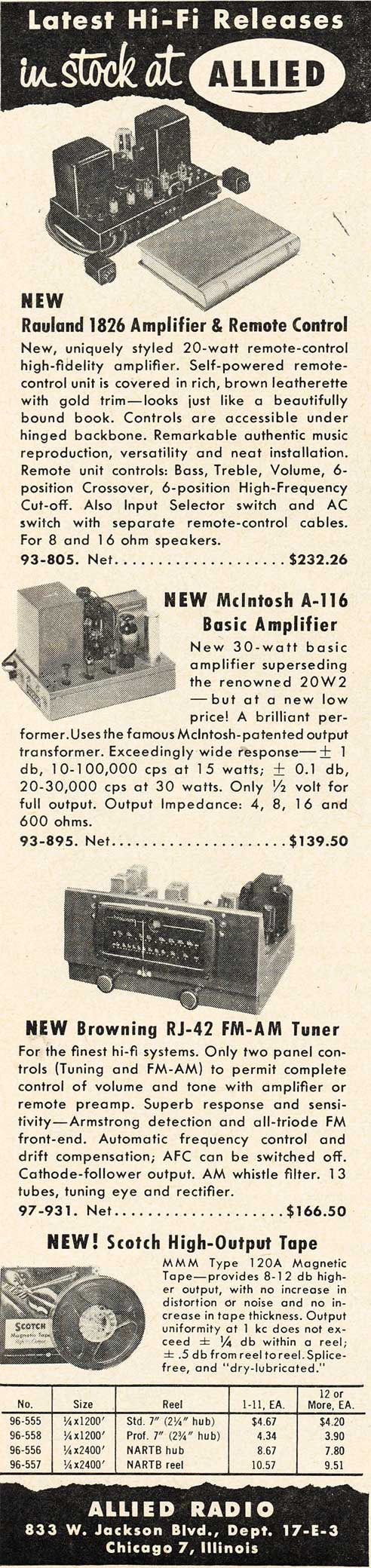 1953 ad for the Allied Radio catalog in Reel2ReelTexas.com's vintage recording collection