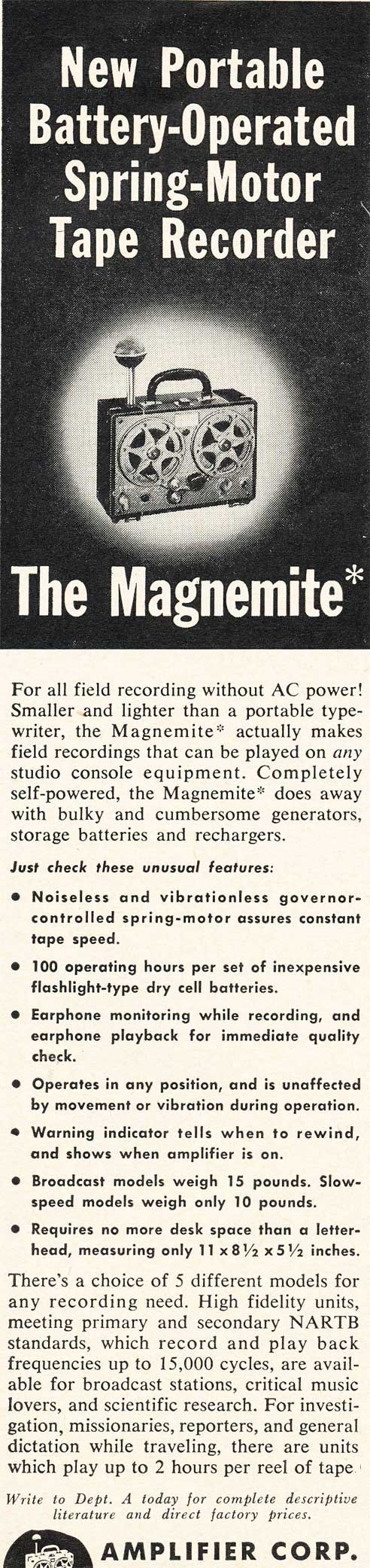 1953 Amplifier Corporation Magnemite reel tape recorder ad in Reel2ReelTexas.com's vintage recording collection