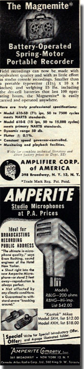 picture of 1953 Amerite recorder and microphone ad
