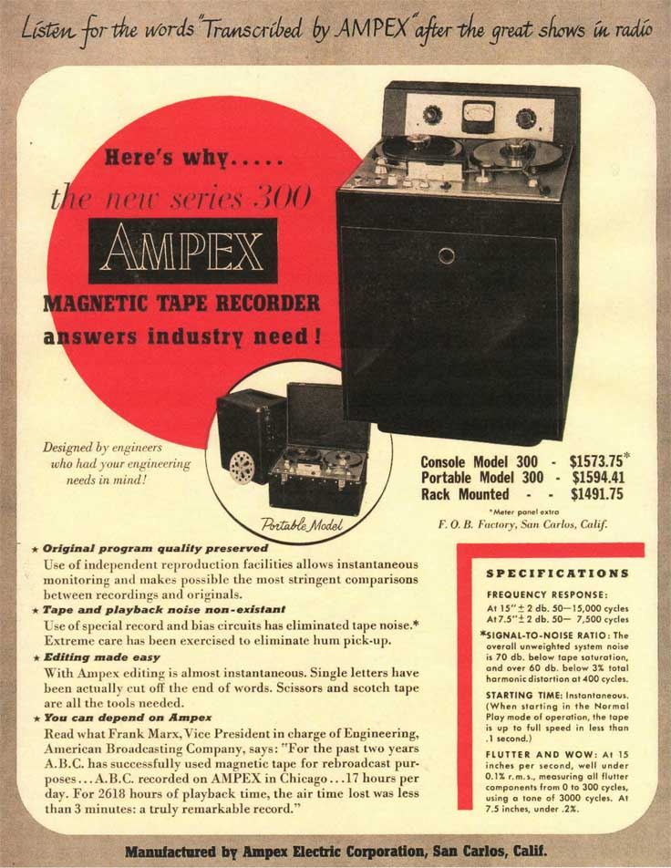 1953 Ampex 300 reel tape recorder ad in Reel2ReelTexas.com's vintage recording collection