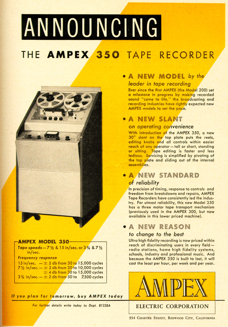 1953 Ampex 350 reel tape recorder ad in Reel2ReelTexas.com's vintage recording collection