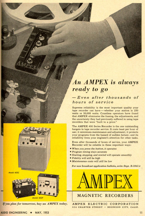 picture of 1953 Ampex 400 reel tape recorder ad