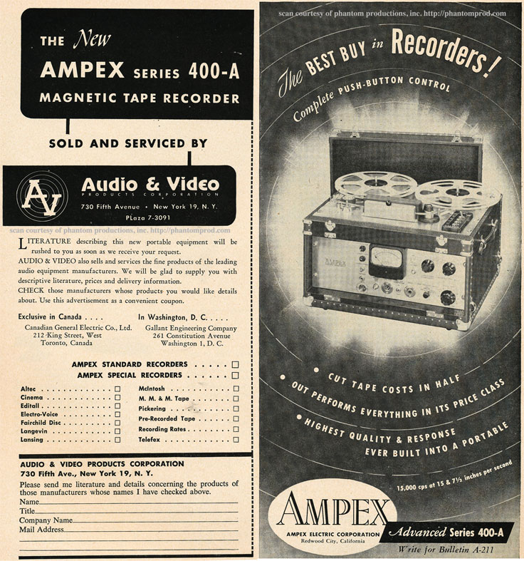 1952 ad for the Ampex 400-A professional reel to reel tape recorder  in Reel2ReelTexas.com's vintage recording collection