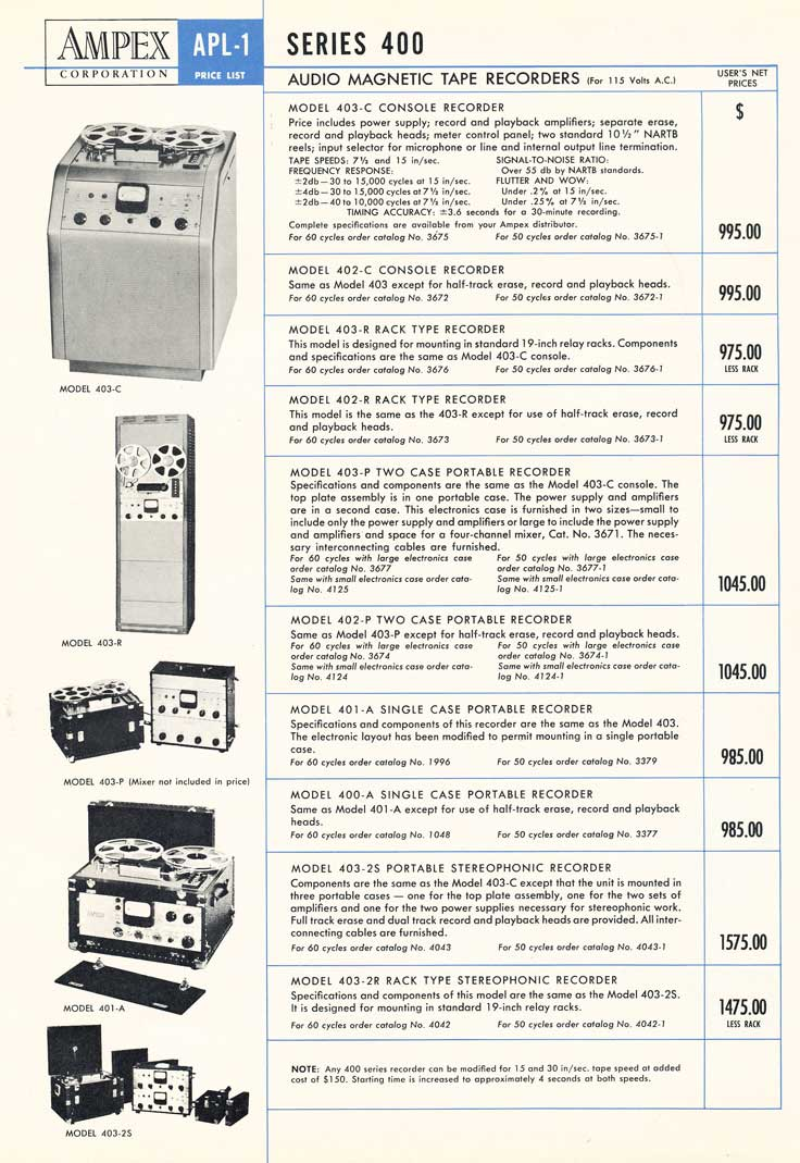 1953 Ampex 400 price list in Reel2ReelTexas.com's vintage recording collection
