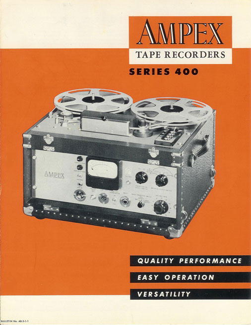 picture of 1953 Ampex 400 reel tape recorder