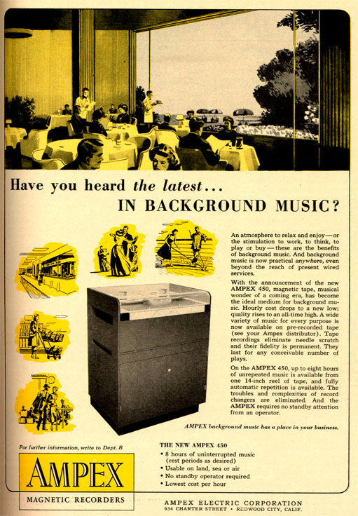 picture of 1953 Ampex 450 reel tape recorder ad