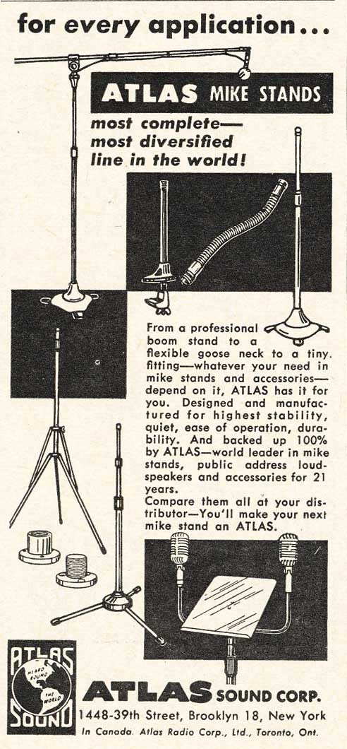1953 Atlas microphone stand ad in Reel2ReelTexas.com's vintage recording collection