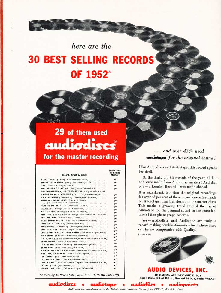 1953 Audio Devices ad in Reel2ReelTexas.com's vintage recording collection