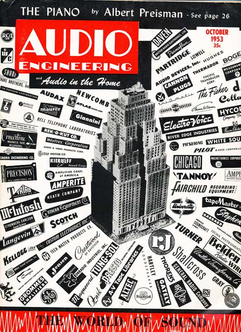 1953 Audio Engineering magazine cover showing logos of audio companies.  Magazine is part of Phantom Productions, Inc.'s vintage recording collection