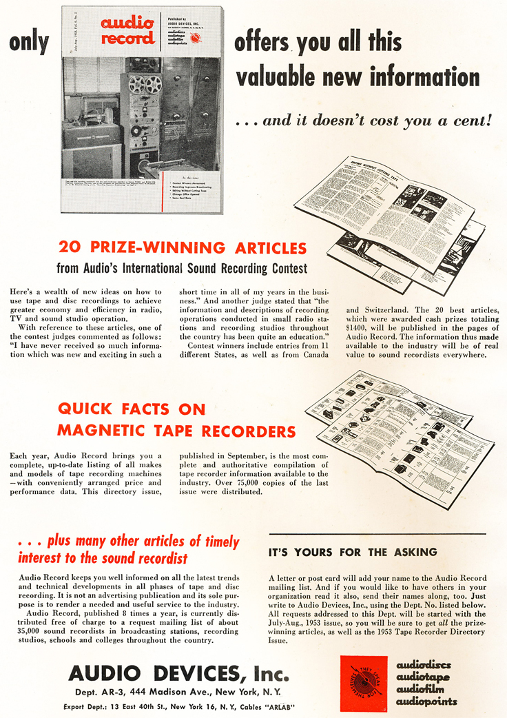 1953 ad for the Audio Record magazine in the 1953 HiFielty magazine in Reel2ReelTexas.com's vintage recording collection