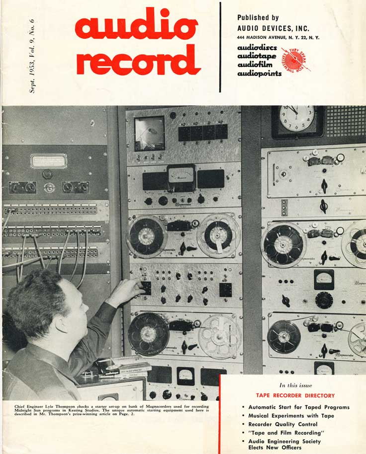 September 1953 Audio Record magazine cover in Reel2ReelTexas.com's vintage recording collection