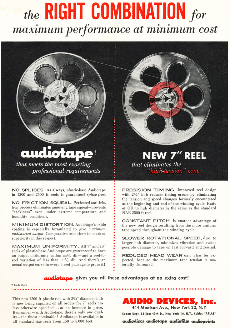 1953 ad for Audiotape reel tape in Reel2ReelTexas.com's vintage recording collection