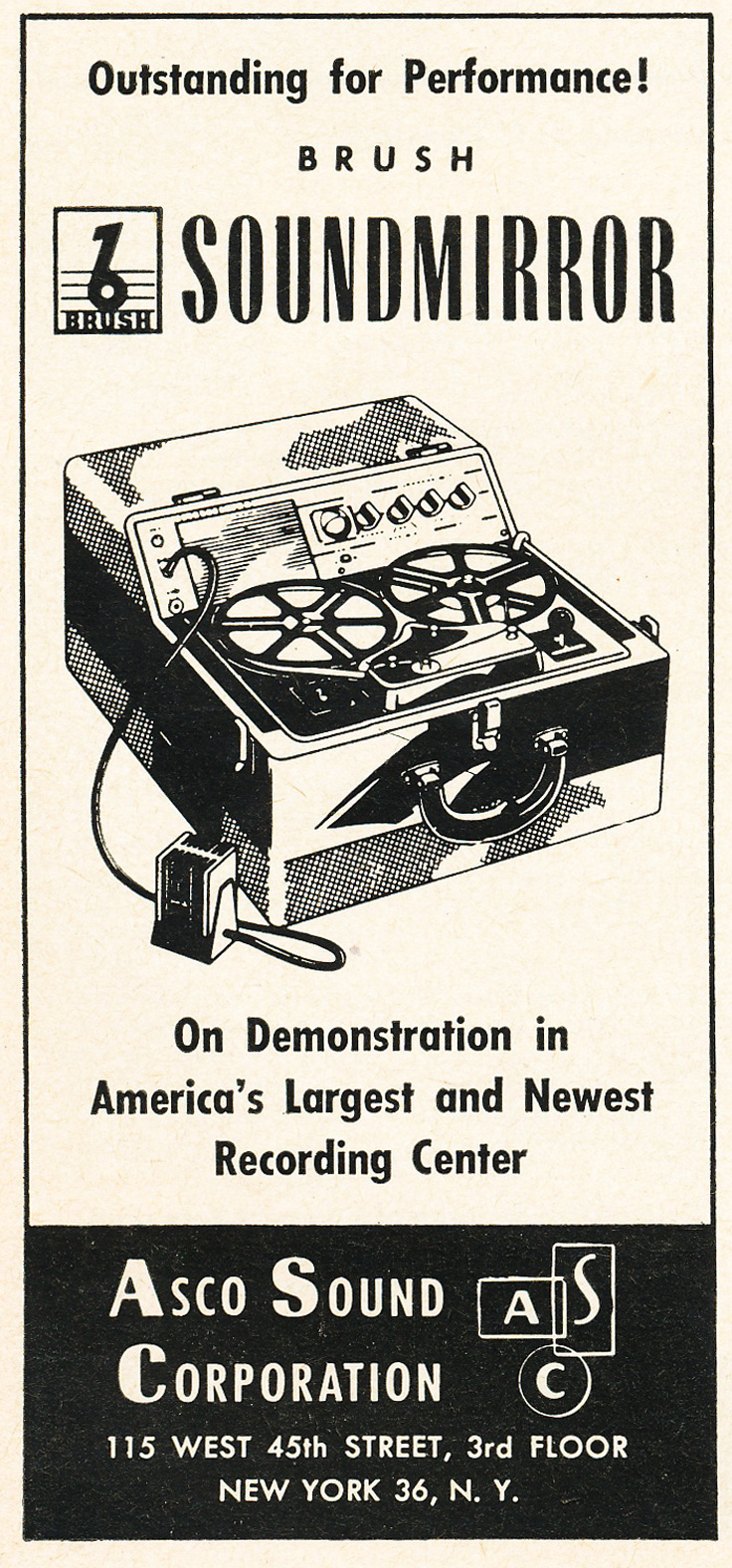1953 ASC Brush reel tape recorder ad in Reel2ReelTexas.com's vintage recording collection
