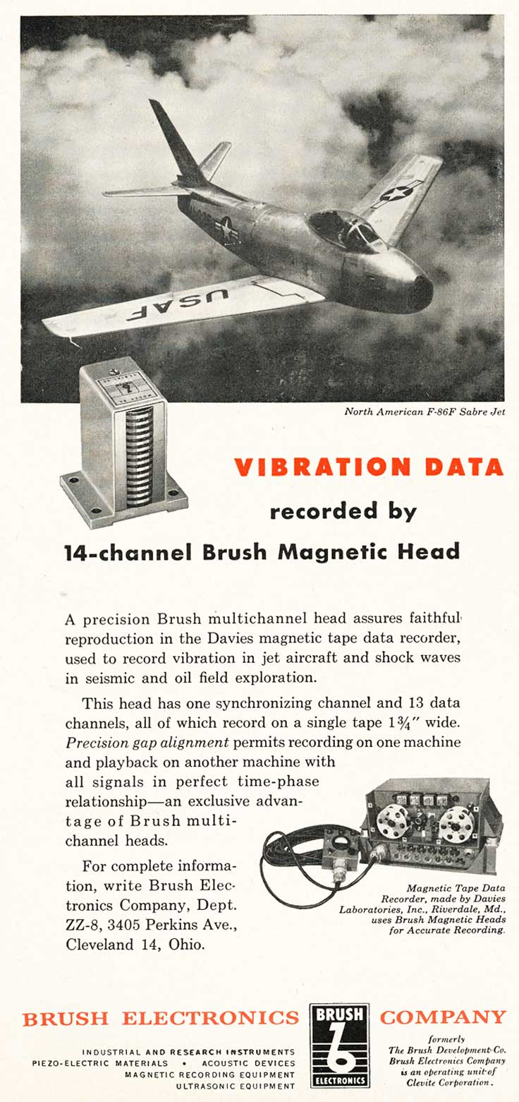 1953 Brush Electronics Company ad showing their 14 track heads used in a  logging recorder used with the USAF Sabre jet in Reel2ReelTexas.com's vintage recording collection