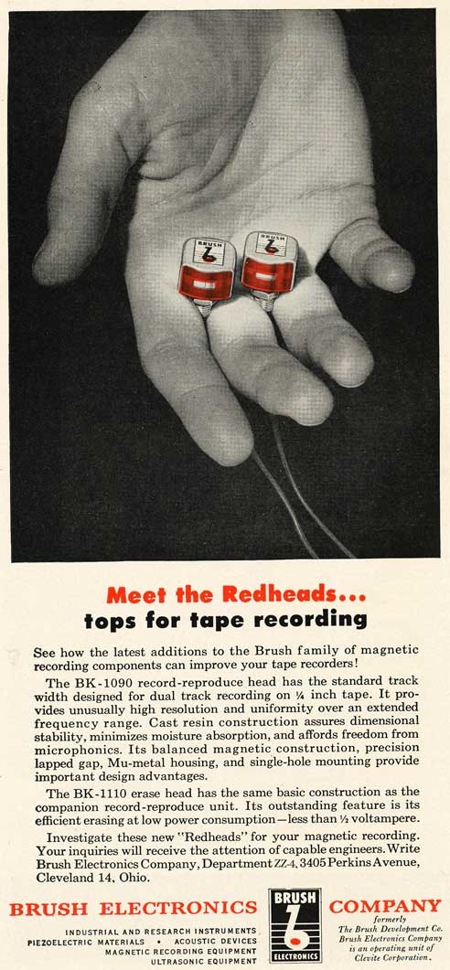 1953 Brush reel tape recording heads ad in Reel2ReelTexas.com's vintage recording collection