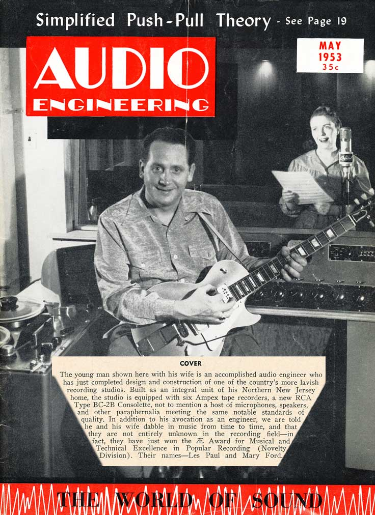 Chet Atkins and Mary Ford on cover of May 1953Audio Enginering magazine in Reel2ReelTexas.com's vintage recording collection
