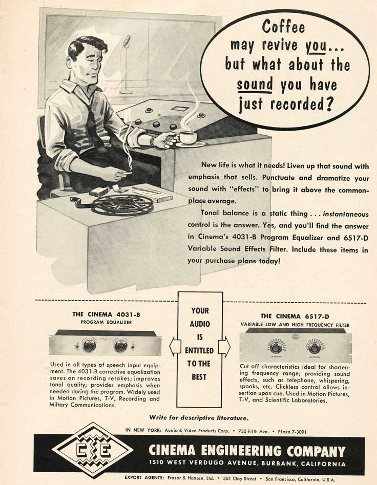 1953 ad for the Cinema Engineering Company in Reel2ReelTexas.com's vintage recording collection