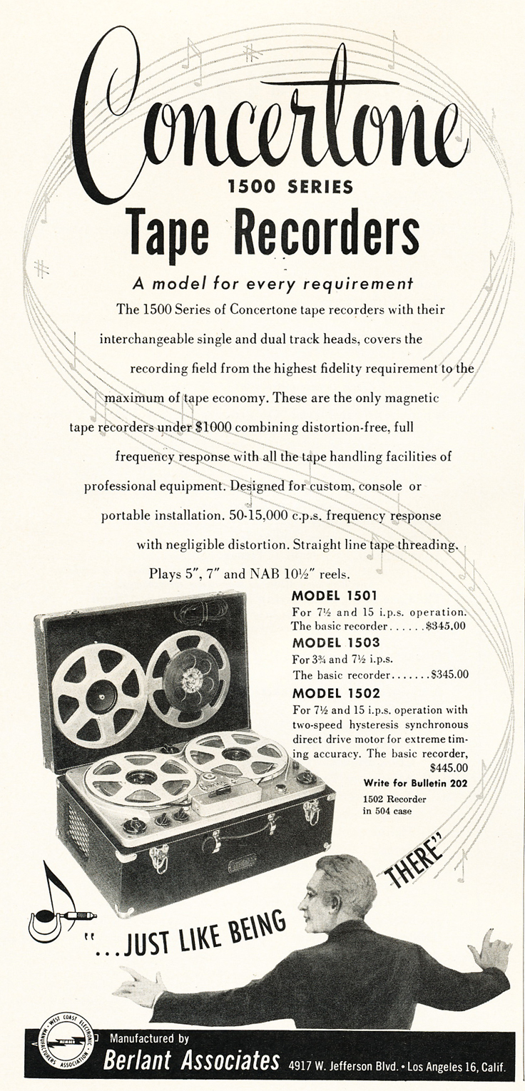 1953 Concertone 1502 Tuning Fork accuracy  reel tape recorder ad in Reel2ReelTexas.com's vintage recording collection