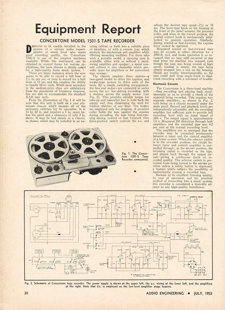 1953 review of the Concertone 1501 reel tape recorder in the Reel2ReelTexas.com's vintage recording collection