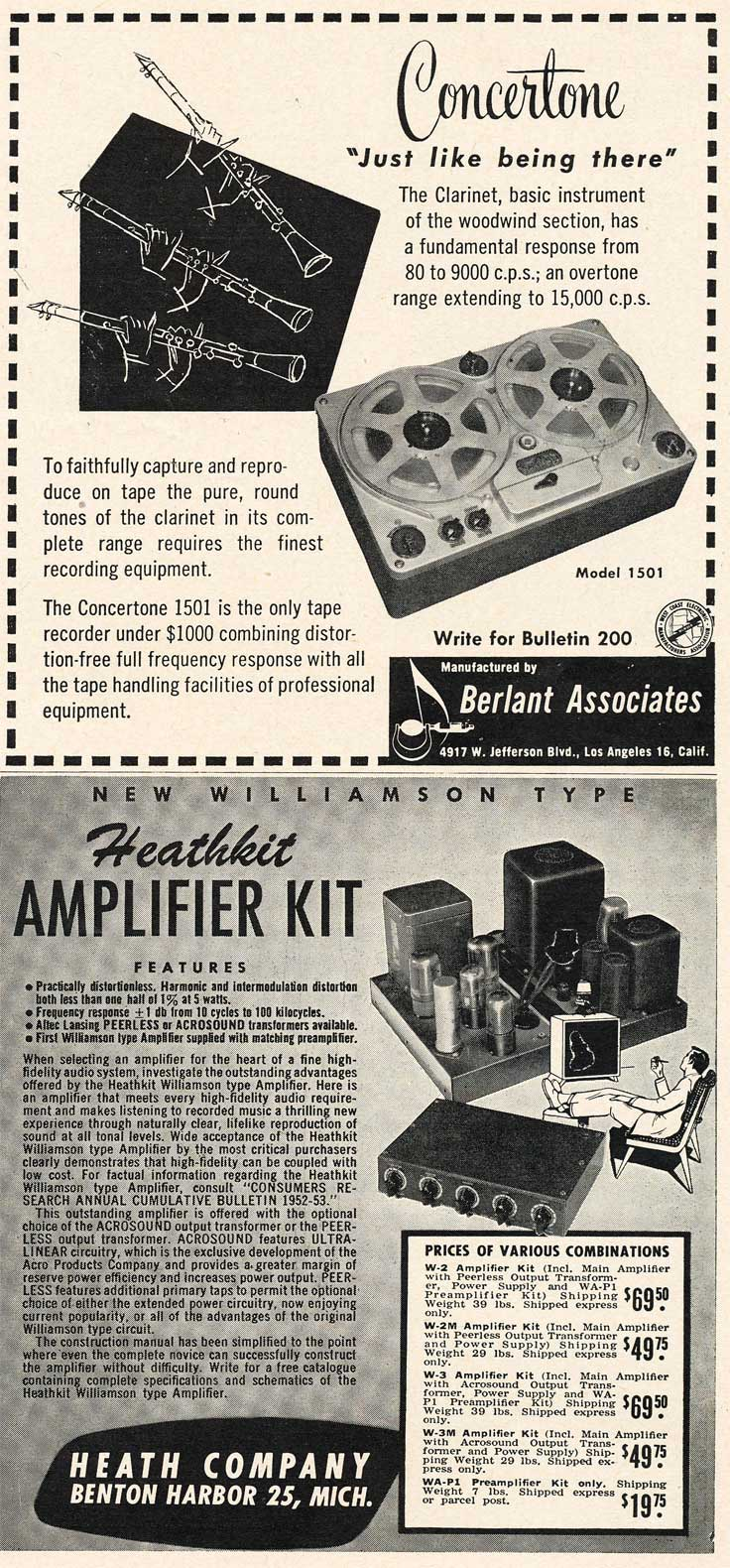 1953 Concertone and HeathKit ads in Reel2ReelTexas.com's vintage recording collection
