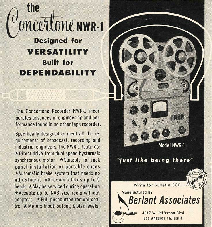 1953 Concertone NWR-1 reel tape recorder ad in Reel2ReelTexas.com's vintage recording collection
