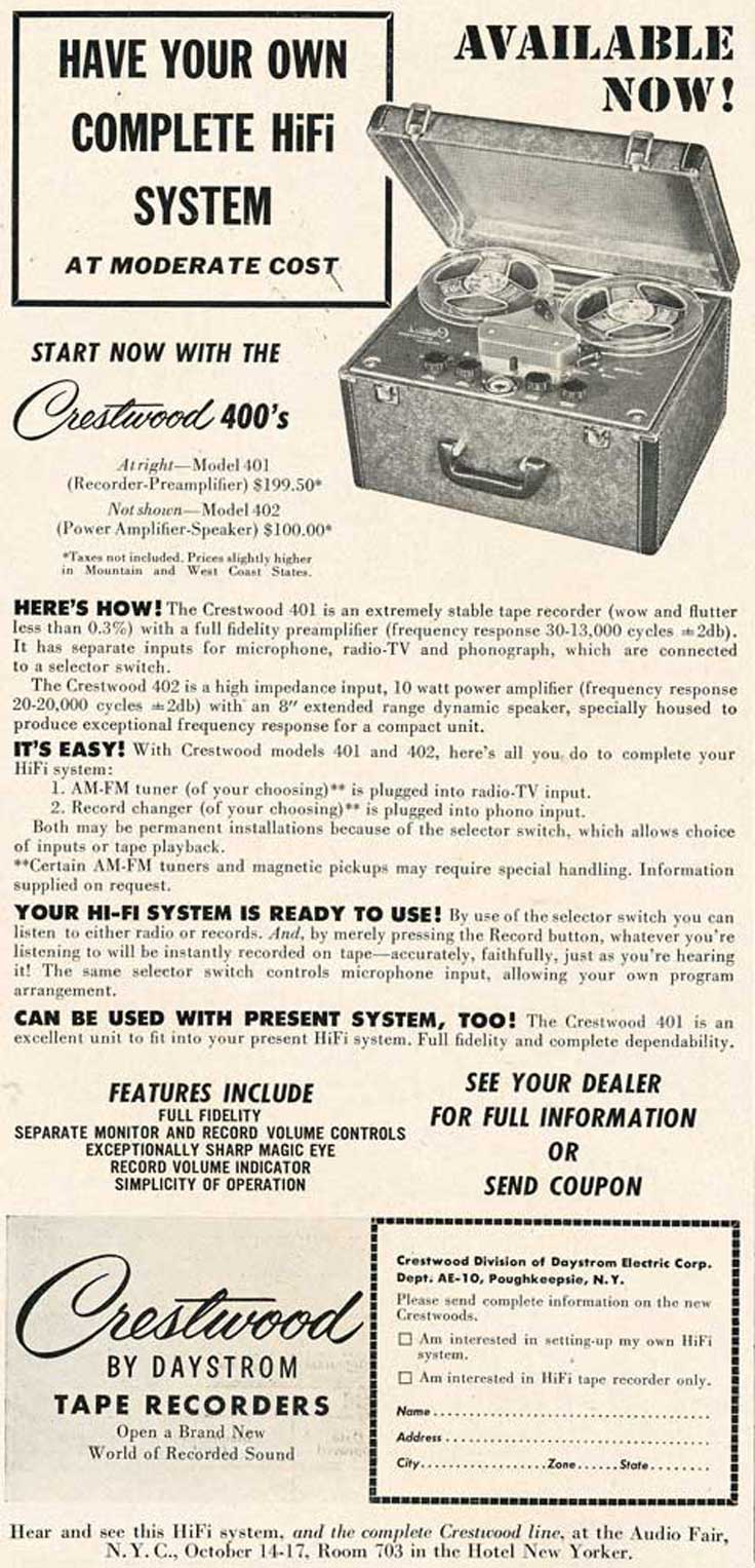 1953 Crestwood reel tape recorder ad in Reel2ReelTexas.com's vintage recording collection