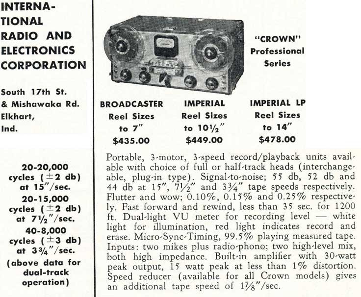 1953 Crown tape recorder summary in Reel2ReelTexas.com's vintage recording collection