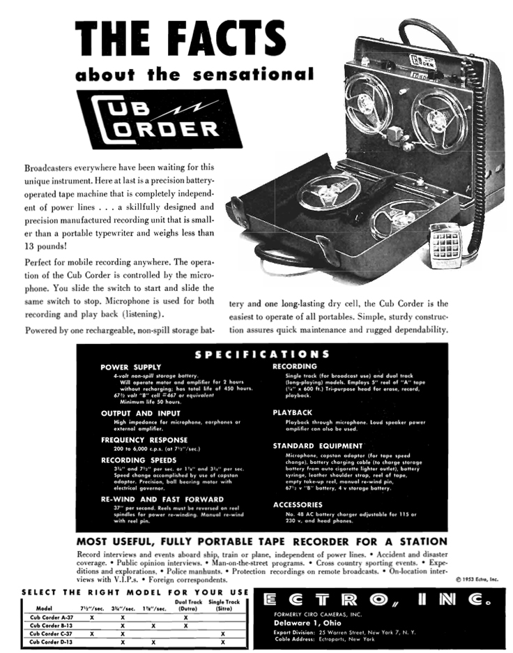 1953 ad for the Electro Cub reel tape recorder in Reel2ReelTexas.com's vintage recording collection