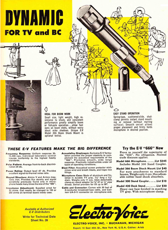 1953 ad for the Electro Voice 666 microphone in Reel2ReelTexas.com vintage reel to reel tape recorder collection