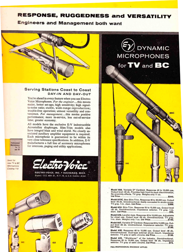 1953 ad for the Electro Voice 666, 655C, 654, 646, 650 and 635 microphones in Reel2ReelTexas.com vintage reel to reel tape recorder collection