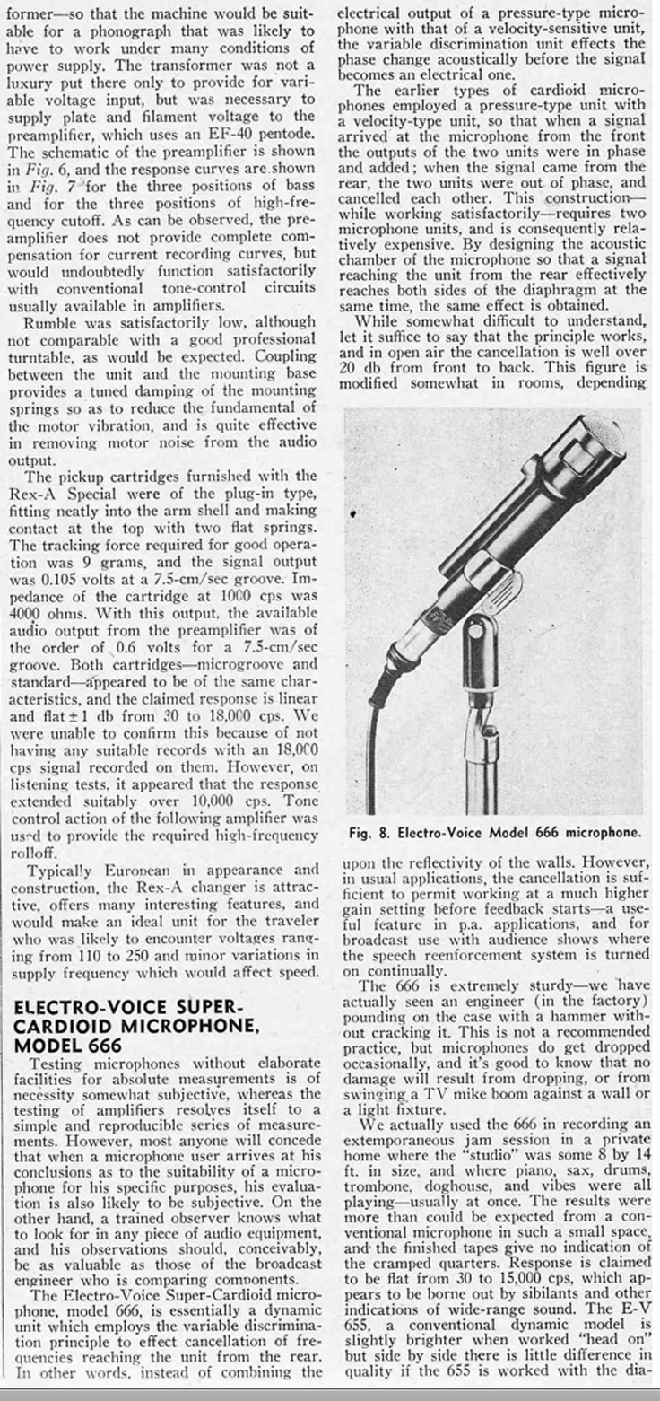 1953 review of the Electro Voice 666 microphone ad in Reel2ReelTexas.com vintage reel to reel tape recorder collection