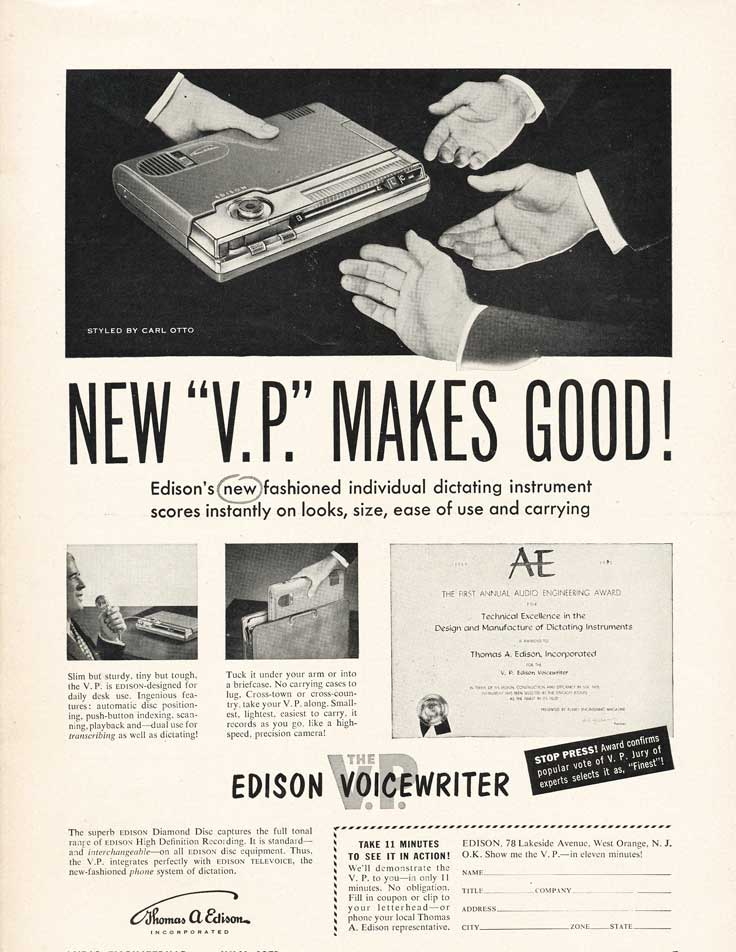 1953 ad for the Edison Voicewriter in Reel2ReelTexas.com's vintage recording collection