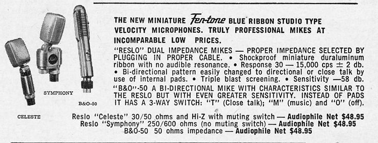 1953 ad for the Fen-Tone Blue Ribbon,Reslo and BandO microphones in Reel2ReelTexas.com vintage reel to reel tape recorder collection