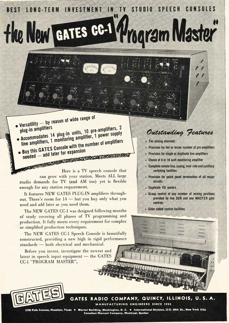1953 Gates Radio and studio console ad in Reel2ReelTexas.com's vintage recording collection