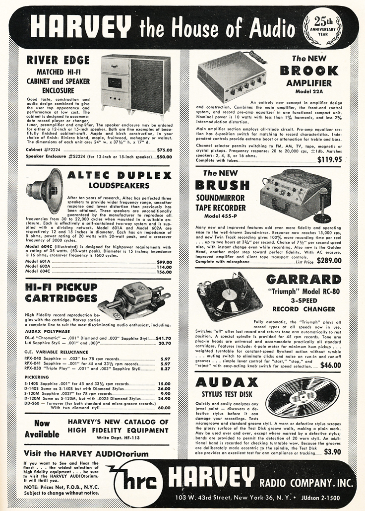 1953 Harvey Radio ad featuring the Brush Soundmirror reel to reel tape recorder in Reel2ReelTexas.com's vintage recording collection