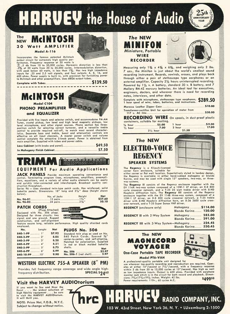 1953 Harvey's ad in Reel2ReelTexas.com's vintage recording collection