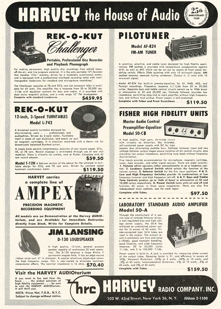 another 1953 Harvey's ad in Reel2ReelTexas.com's vintage recording collection