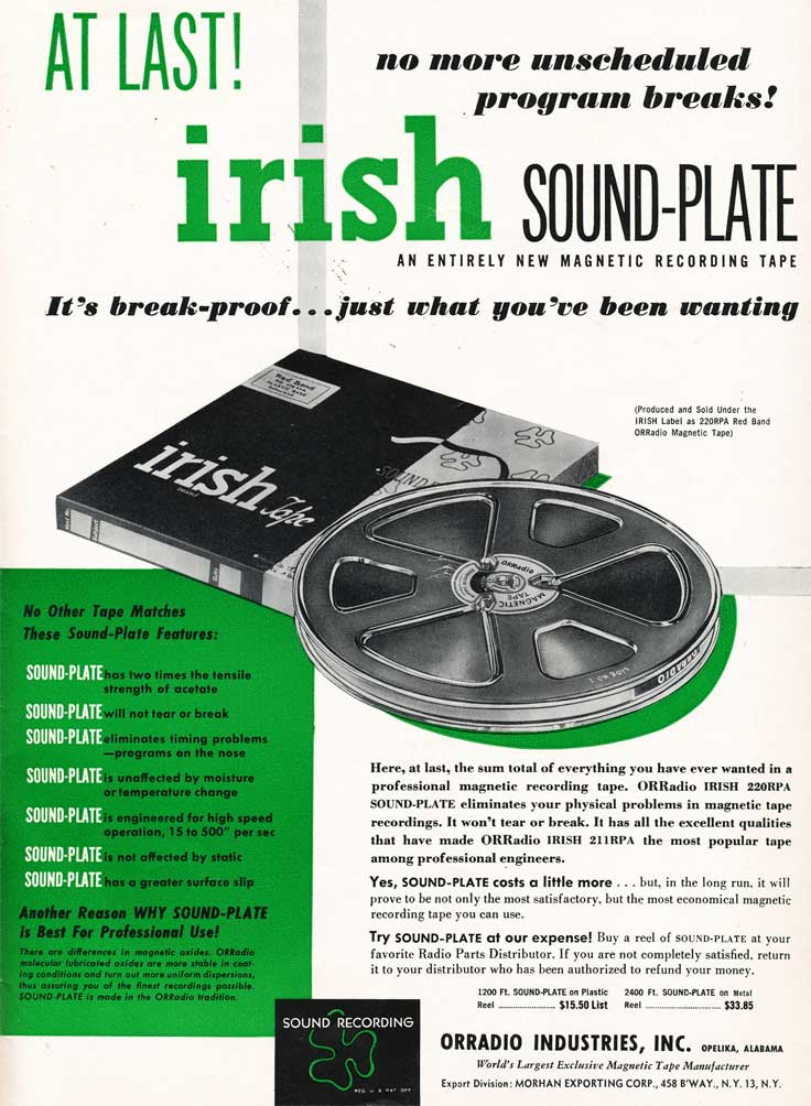 1953 Irish recording tape ad in Reel2ReelTexas.com's vintage recording collection