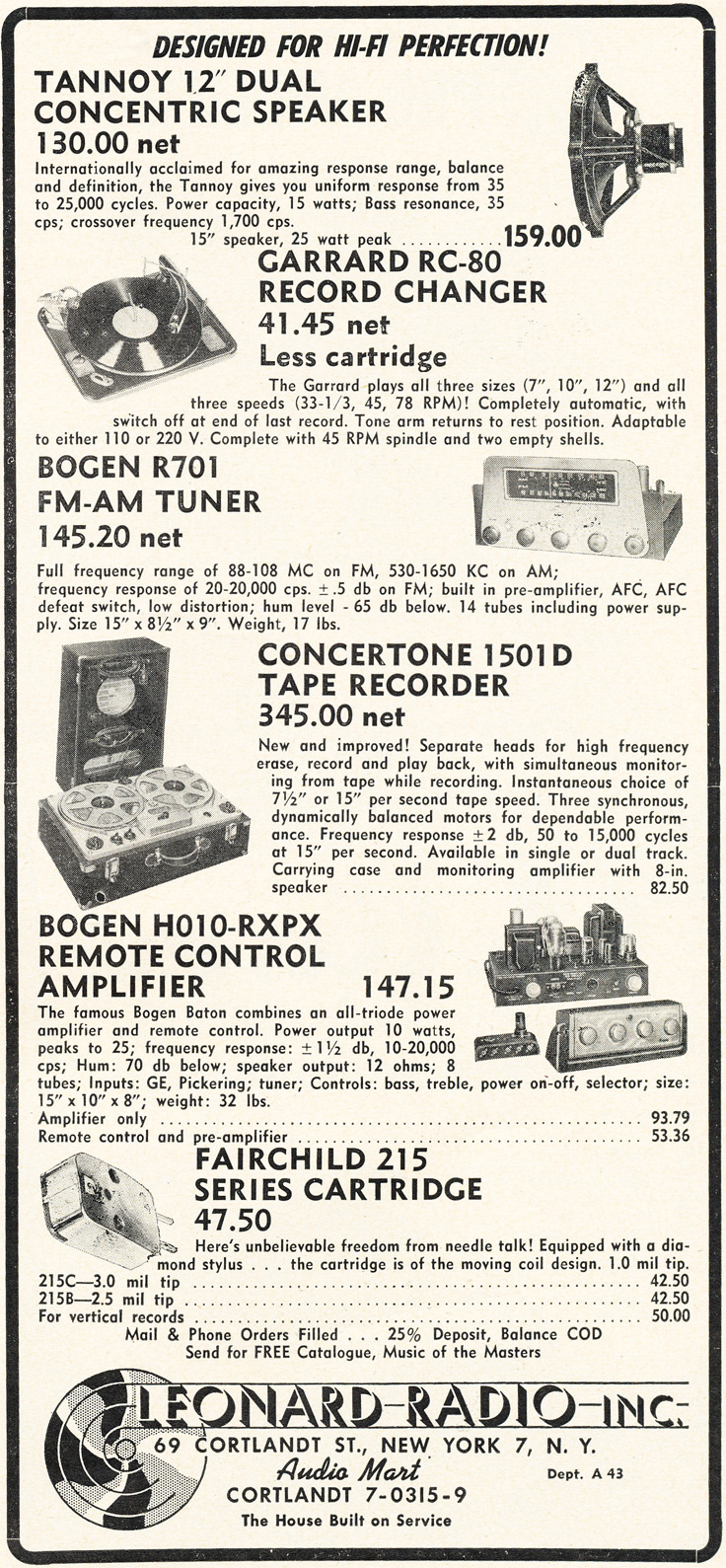 1953 Leonard Electronics ad that includes the Berlant Concertone 1501D professional reel to reel tape recorder in Reel2ReelTexas.com's vintage recording collection