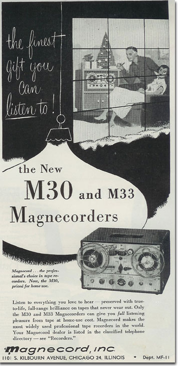 1952 Magnecorder M30,M33 ad in Reel2ReelTexas.com's vintage reel tape recorder collection